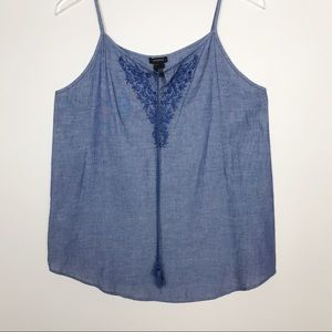 Ann Taylor Factory Embroidered Chambray Tank S